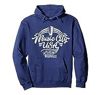 Music City Usa Nashville Retro T Shirt Hoodie Navy