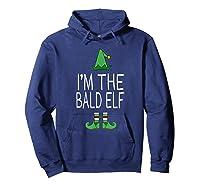 Matching Family Christmas Shirt Funny I'm The Bald Elf Hoodie Navy