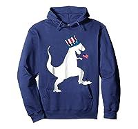 Fourth Of July Dinosaur Shirt Funny Amerisaurus Rex T-shirt Hoodie Navy