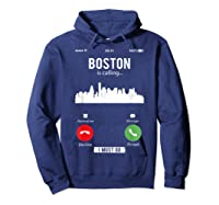 Funny Boston Is Calling I Must Go T Shirt Hoodie Navy