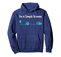 Im A Simple Woman Wine Dog Camping Heartbeat Shirts Hoodie Navy