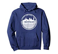 Grunge Buffalo Ny T Shirt Retro Skyline City Hoodie Navy