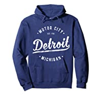 Retro Vintage Detroit Michigan Motor City T Shirt Souvenir Hoodie Navy