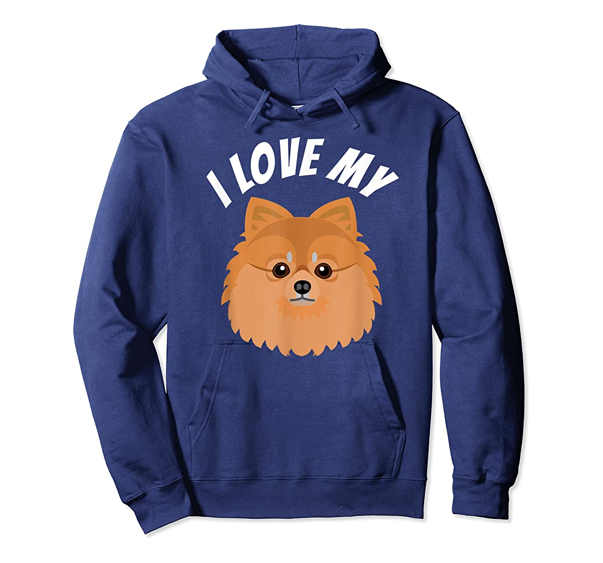 I Love My Pomeranian T-Shirt Dog Lover Tee-Hoodie-Navy