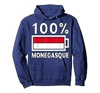 Monaco Flag T Shirt 100 Monegasque Battery Power Tee Hoodie Navy