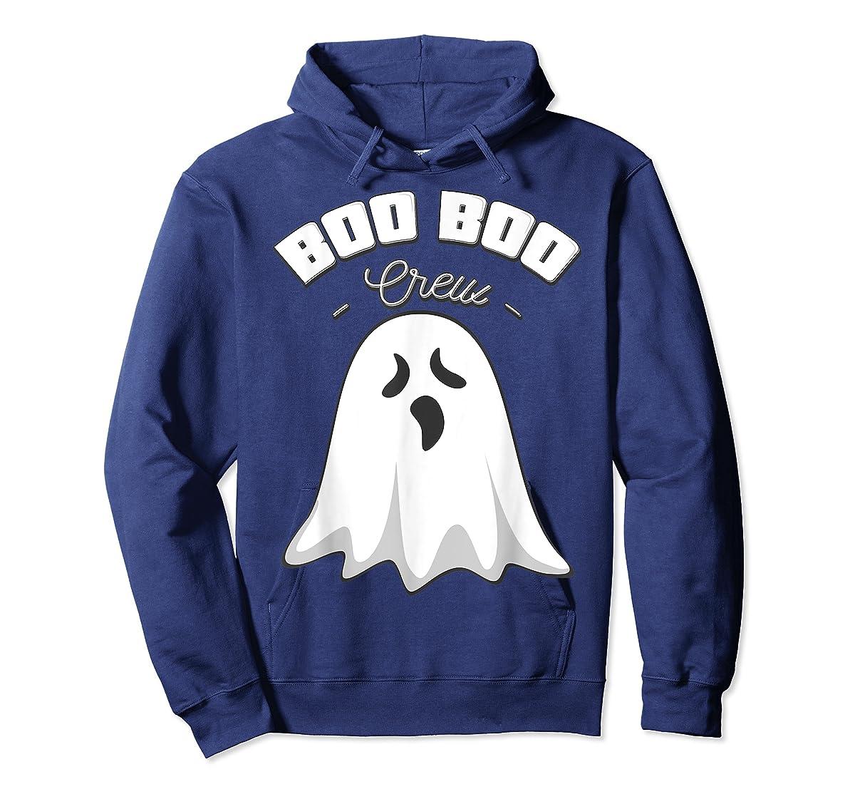 Boo Boo Crew Ghost Funny Halloween Black and Orange Night  T-Shirt-Hoodie-Navy