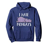 Hate Mondays Cute Funny Hippo Chilling Shirts Hoodie Navy