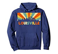 Louisville T Shirt City Skyline Retro 70s Souvenir Shirt Hoodie Navy