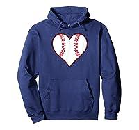 Baseball Player, Coach Or Fan Heart Shaped Baseball Graphic Shirts Hoodie Navy