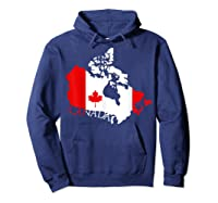 Proud Canada Flag Map T-shirts Maple Leaf Shirt Canada Day T-shirt Hoodie Navy