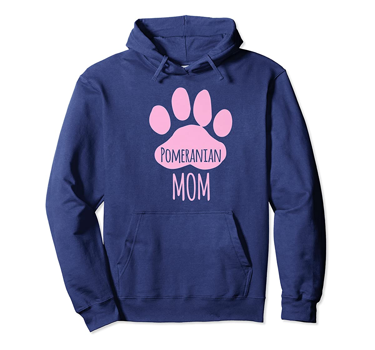 Cute Pomeranian Mom T Shirt for Pom Owner Dog Paw Pink-Hoodie-Navy