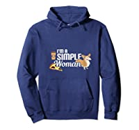I'm A Simple Woman Coffee Pizza Doxie Dachshund Dog T-shirt Hoodie Navy