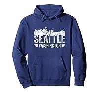 Seattle Skyline Tshirt Silhouette Distressed City Souvenir Hoodie Navy
