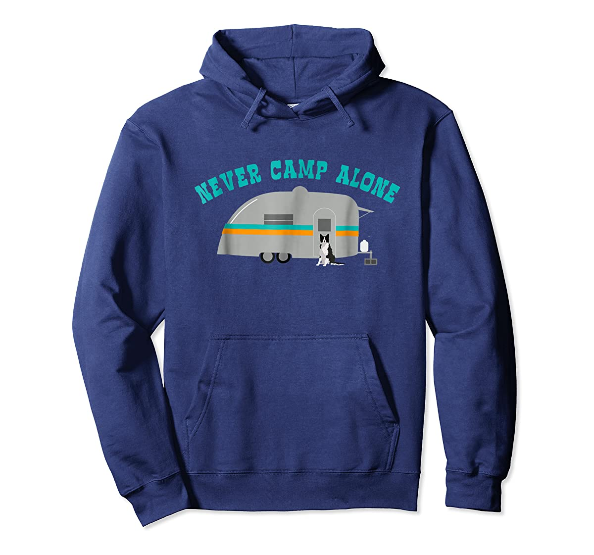 Border Collie Dog RV Shirt Funny Camping Travel Trailer-Hoodie-Navy