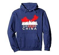 Shenzhen Shirt City Skyline Silhouette China Gift T Shirt Hoodie Navy