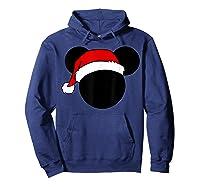 Disney Mickey Santa Hat T Shirt Hoodie Navy