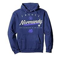 Normandy France Beach T Shirt Hoodie Navy