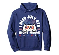 Cat July 4th Independence Day Meow Gift Shirts Hoodie Navy