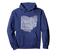 Zanesville Hometown Ohio State Shaped Wordcloud Shirts Hoodie Navy