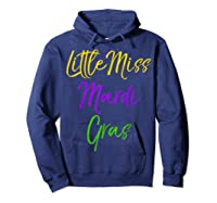 Little Miss Mardi Gras Shirt For Cute Girls Mardi Gras Hoodie Navy