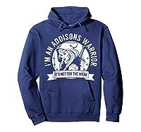 Addisons Hooded Warrior T-shirt- Addisons Disease Awareness Hoodie Navy