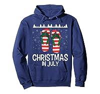 Christmas In July Santa Flip Flop Summer Xmas Gift Shirts Hoodie Navy