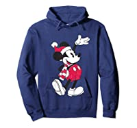 Disney Hello Holiday Mickey T Shirt Hoodie Navy