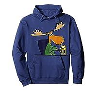 Smiletodaytees Funny Moose Drinking Mug Of Beer T-shirt Hoodie Navy