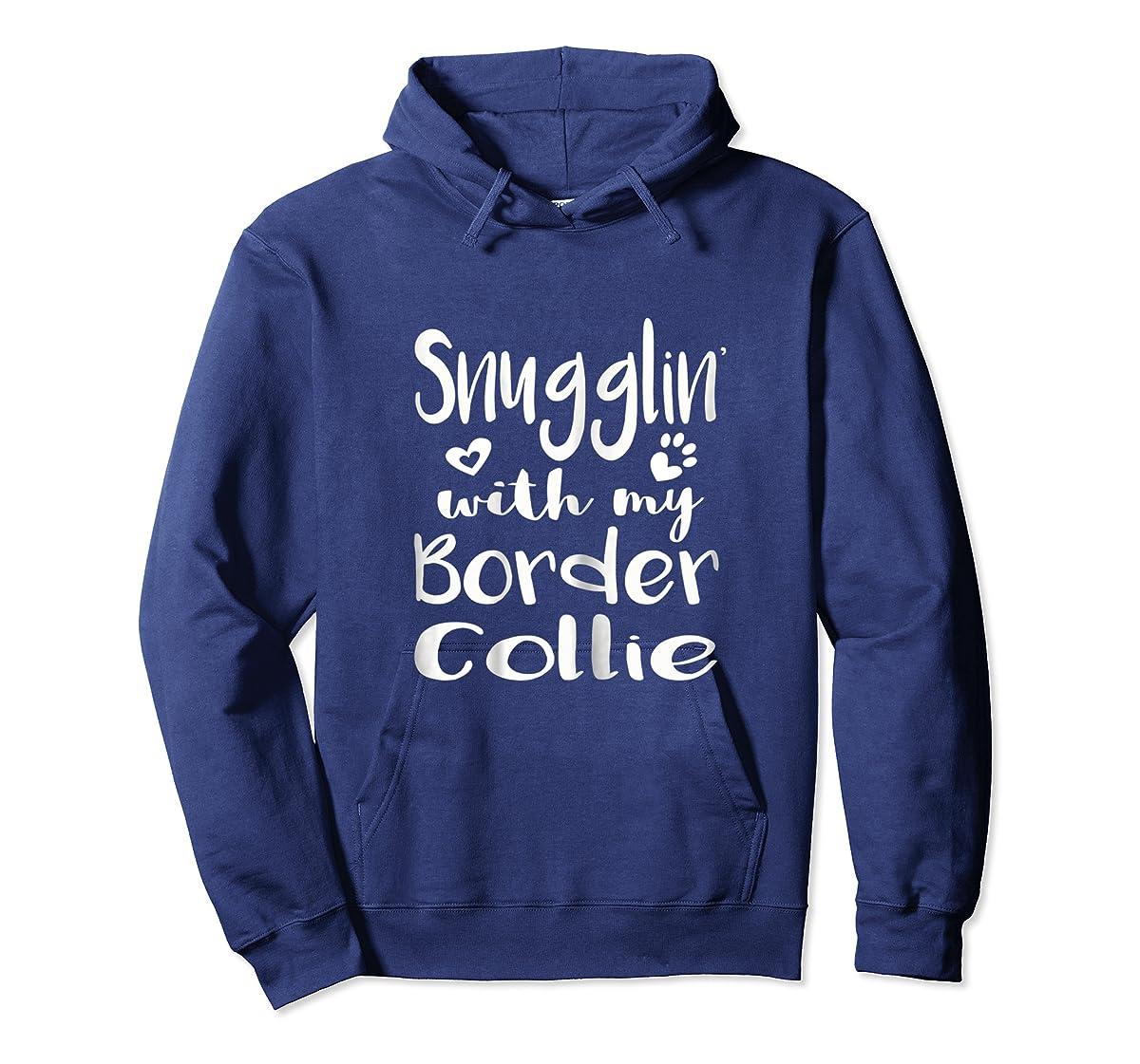 Snuggling with my Border Collie Shirt - Dog Mom pajamas-Hoodie-Navy