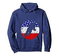 Space Science Retro Astronaut American Flag T-shirt Hoodie Navy