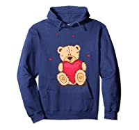 Adorable Teddy Bear Give You Love   Valentine Day T-shirts. Hoodie Navy