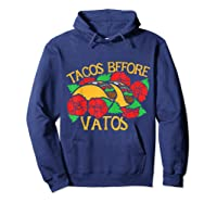 Tacos Before Vatos Artistic Taco Tuesday Shirts Hoodie Navy