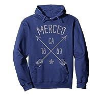 Merced Ca T Shirt Distressed Boho Style Home City Hoodie Navy
