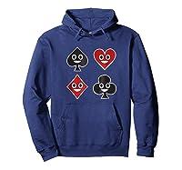 Playing Cards Emoji Spades Clubs Diamonds Hearts Shirt Hoodie Navy