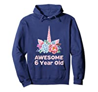 6th Birthday Unicorn Girls Age 6 Year Oid Niece Gifts Shirts Hoodie Navy