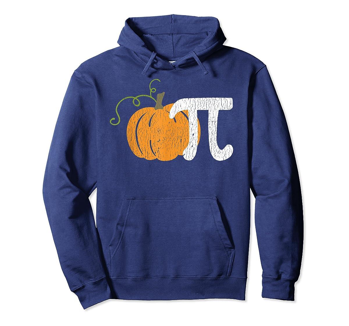 Funny Pumpkin Pie Math Teacher Halloween Pi Humor T-Shirt-Hoodie-Navy