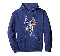 Doberman Sunglasses American Flag Funny 4th Of July T-shirt Hoodie Navy