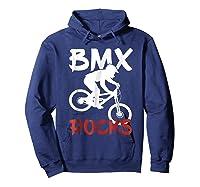 Bmx Riding Rocks T Shirt Cool Dirt Bike Race Stunt Gift Tees Hoodie Navy