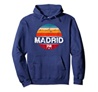 Vintage Madrid T Shirt Spain Souvenir T Shirt Hoodie Navy