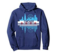 Chicago Skyline Shirt Silhouette Il City Flag Gift T Shirt Hoodie Navy