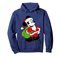 Disney Santa Mickey Mouse T Shirt Hoodie Navy