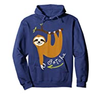 Finger Circle Game Cute Sloth Funny Made You Look Prank T-shirt Hoodie Navy