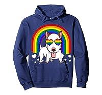 Bull Terrier Dog Gay Pride Rainbow Q Cute Gift Shirts Hoodie Navy