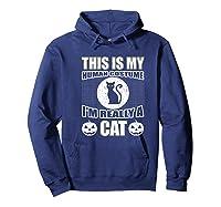 Halloween Cat Costume, This Is My Human Costume Retro Shirts Hoodie Navy
