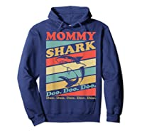 Retro Vintage Mommy Shark Grandma Mather's Day Gifts Shirts Hoodie Navy