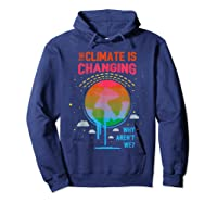 Climate Change Warming Awareness Earth Day T-shirt Hoodie Navy