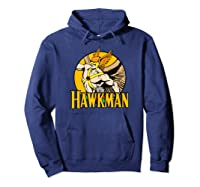 Justice League Hawkman Circle T Shirt Hoodie Navy