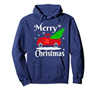 Merry Christmas Old Vintage Red Truck With Christmas Tree Shirts Hoodie Navy