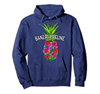 Banzai Pipeline Tropical Pineapple Flower Vacation T-shirt Hoodie Navy