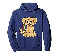 Pride Golden Retriever Dog Gay Lesbian Rainbow Flag Shirts Hoodie Navy
